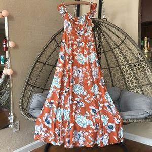 Maxi Orange floral dress